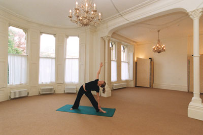 Our light and airy meditation room makes the ideal setting for yoga
