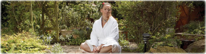Eve meditating in garden landscape